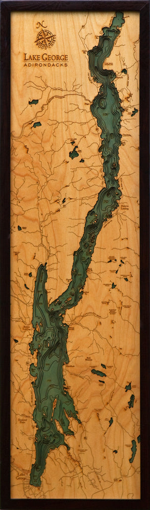 Lake George New York Nautical Wooden Chart Wooden Map