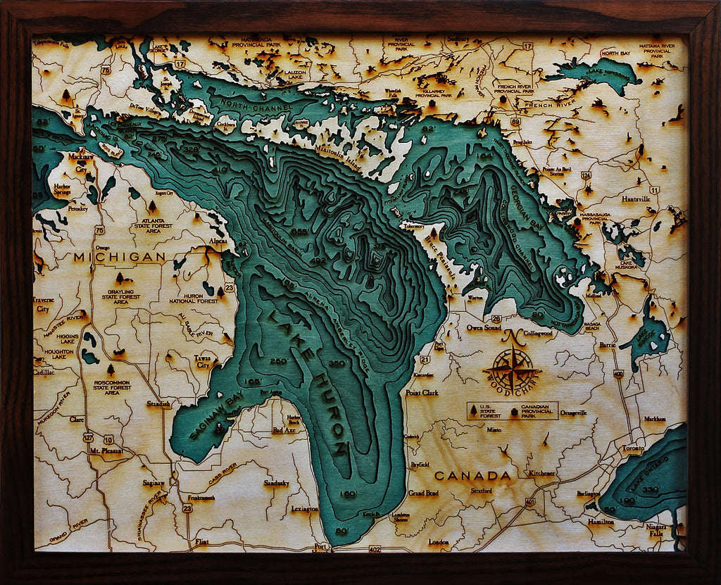 Lake Huron Michigan Canada Nautical Wooden Chart