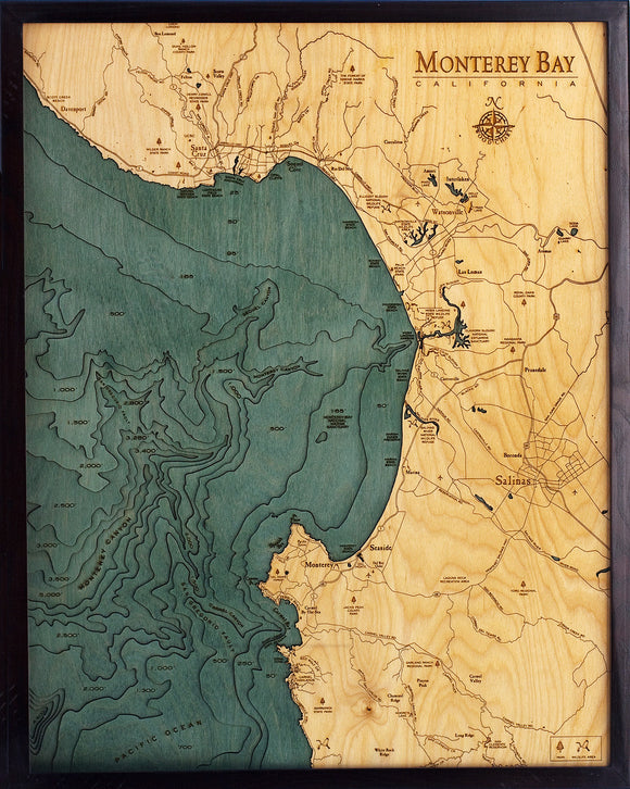 Wooden Map | Monterey Bay | California