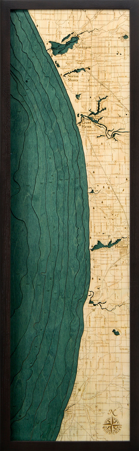Muskegon to South Haven, Michigan Wood Chart | Wood Map