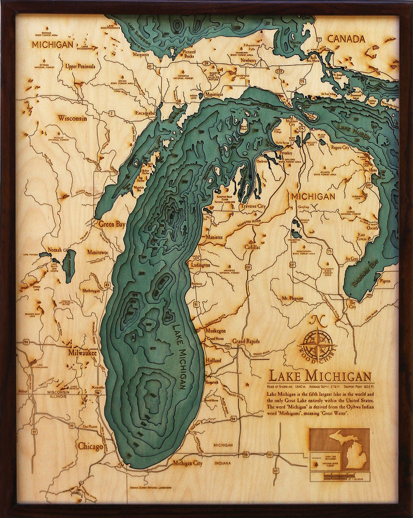 Lake Michigan Michigan Wisconsin Large Wood Chart