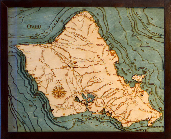 Oahu | Hawaii | Wood Chart | Wood Map