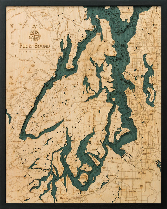 Puget Sound | Washington | Wood Chart