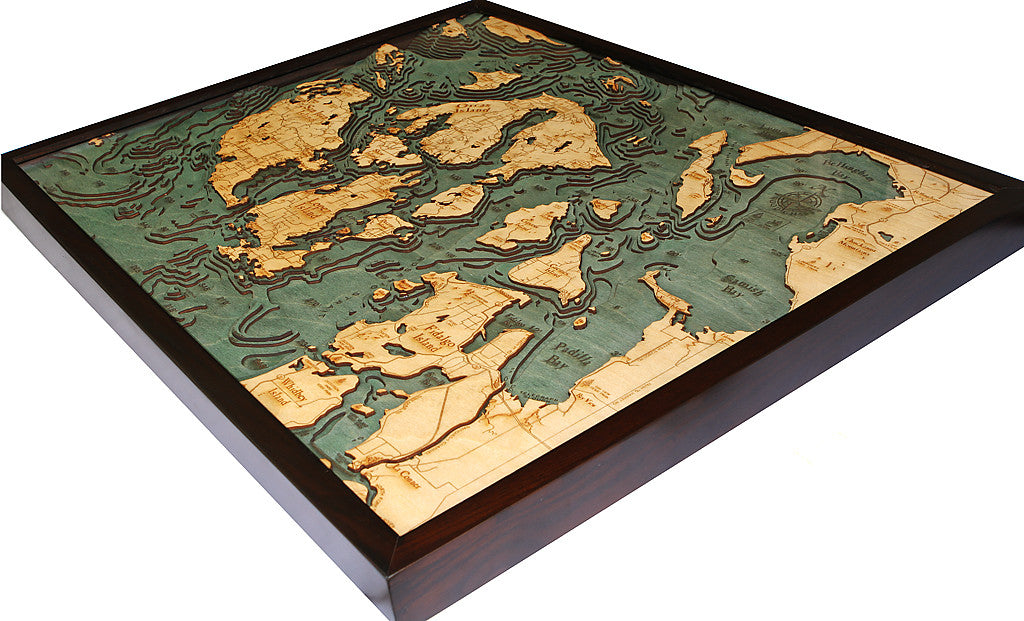 San Juan Islands Washington Wood Chart Wooden Map