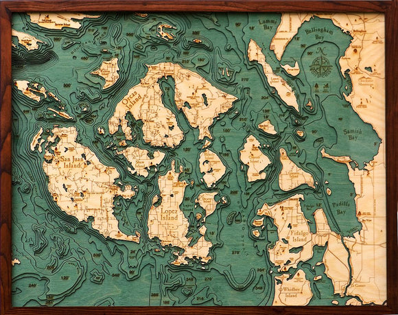 Wood Map | San Juan Islands | Washington