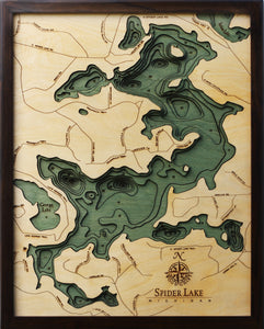 Spider Lake | Michigan | Wood Map