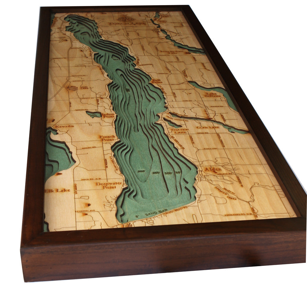 Torch Lake Michigan Wood Map Wood Chart The Wooden