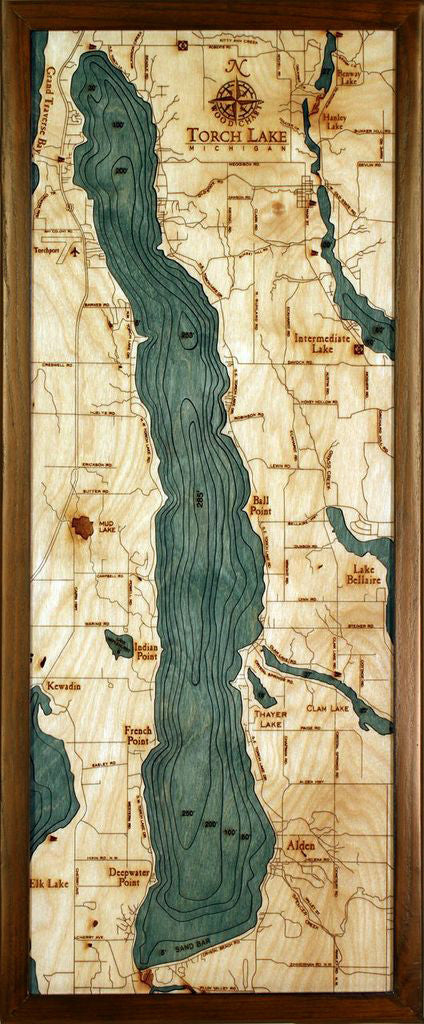 Torch Lake | Wooden Map
