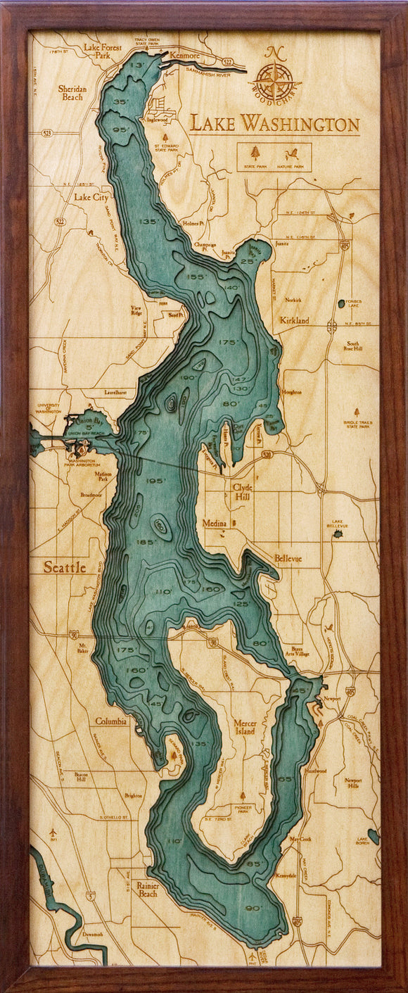 Wood Map | Lake Washington | Washington