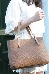Charlotte Mini - Tan Woven Embossed