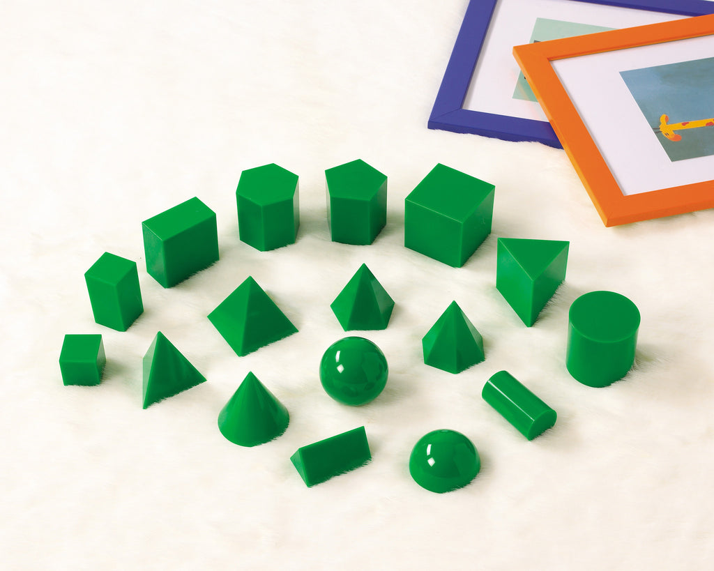 GeoSolids Green PLASTIC 5cm 17pc - iPlayiLearn.co.za