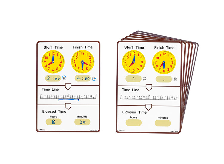 Tell Elapsed Time Dry Erase Board STUDENT 10p