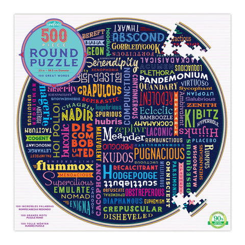 100 Great Words - 500pc Round Jigsaw Puzzle