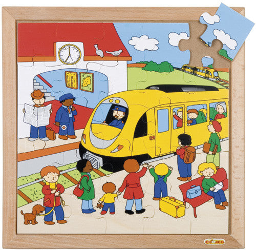 Train Station Puzzle 25pc (34cm x 34cm) Wood Framed
