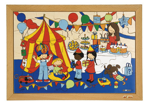 Birthday Party Puzzle 24pc (40cm x 28cm) Wood Framed
