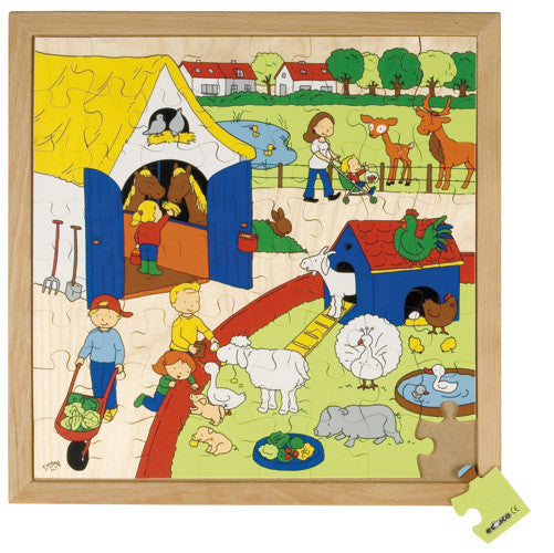 Children's Farm Puzzle 64pc (40cm x 40cm) Wood Framed