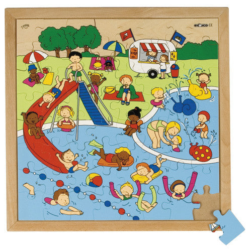 Swimming Pool Puzzle 64pc (40cm x 40cm) Wood Framed