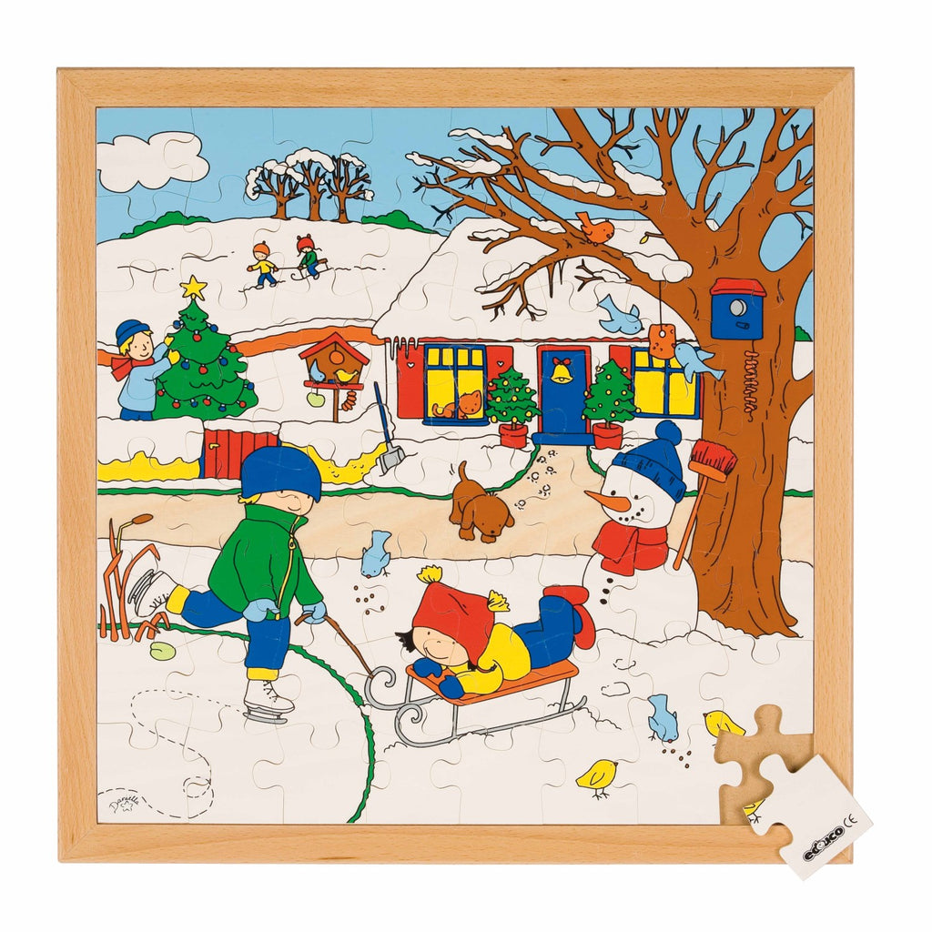 The Four Seasons - Winter Puzzle  64pc (40cm x 40cm) Wooden Framed