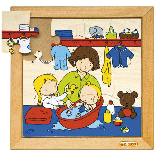 Baby Bathing Puzzle 12pc (24cm x 24cm) Wood Framed