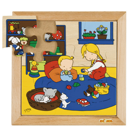Baby Playing Puzzle 9pc (24cm x 24cm) Wood Framed