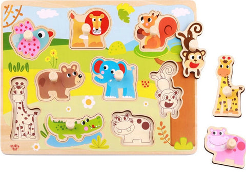 Wild Animal Peg Puzzle 10pc