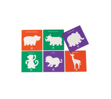 Stencils JUNGLE ANIMALS 6pc - iPlayiLearn.co.za