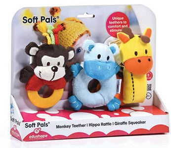 Soft Pal Teethers 3pc: Teether, Rattle, Squeaker