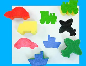 Sponge Painting Set: Transport 5pc