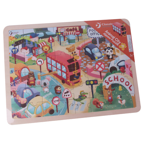 Animal City Wooden Jigsaw Puzzle 49pc