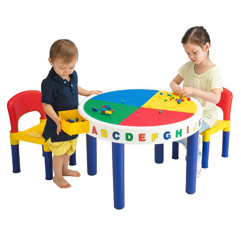 Big Round Building Block Table & 2 Chair Set