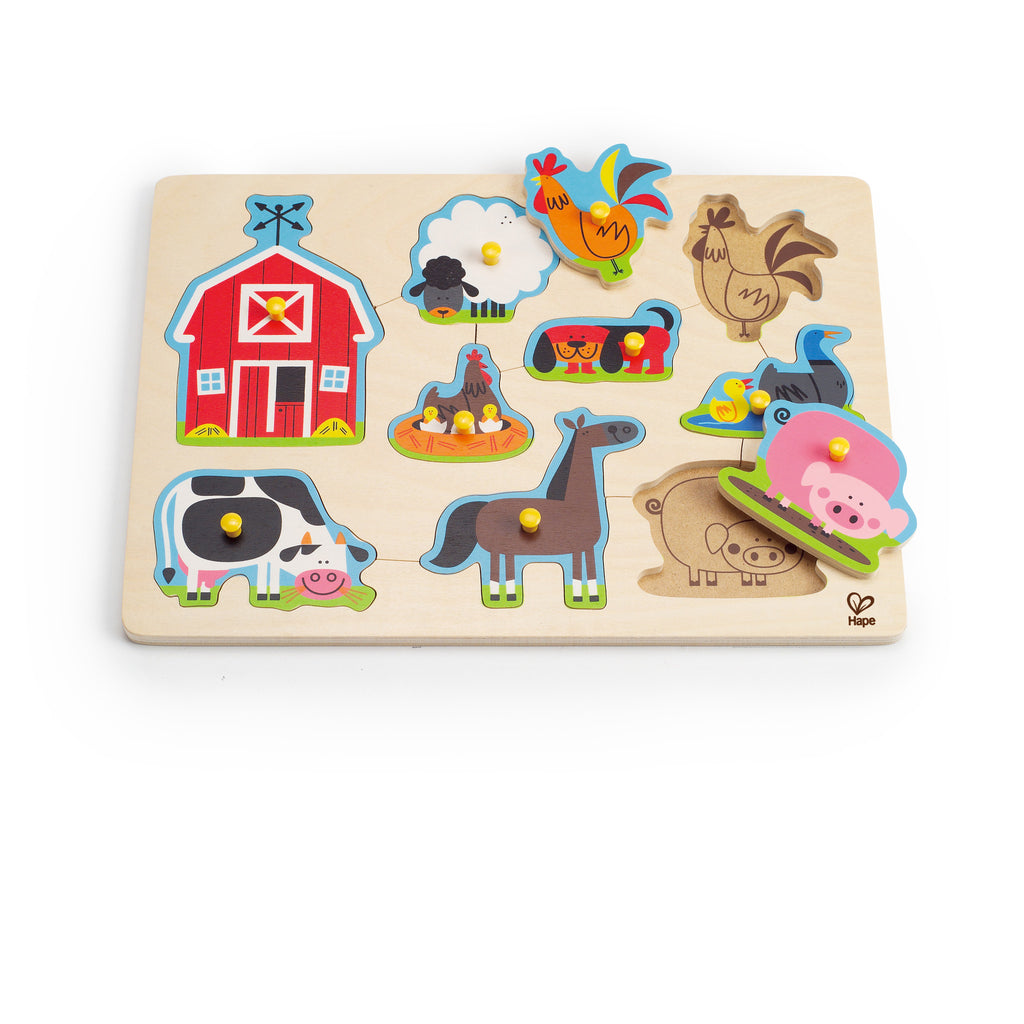 Farm Animals Peg Puzzle 9pc - iPlayiLearn.co.za