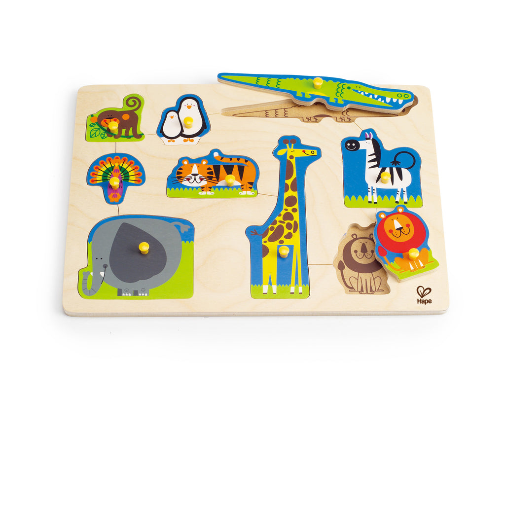 Wild Animals Peg Puzzle 9pc - iPlayiLearn.co.za