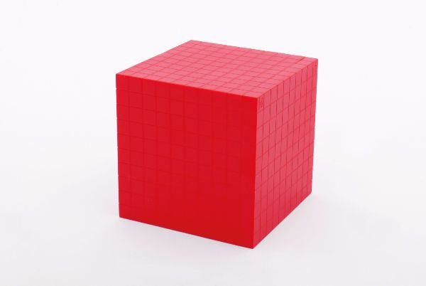 Base Ten Plastic Cube Red