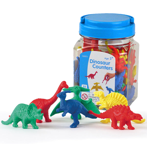 Dinosaur Counters 32pc Jar with Tweezer & Activity Guide