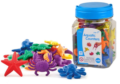 Aquatic Counters 42pc Jar with Tweezer & Activity Guide