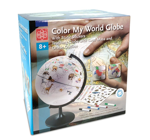 Colour My World Globe- 28cm (with Static Stickers)
