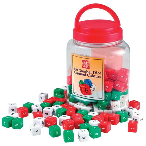 100 Number Dice Assorted Colours