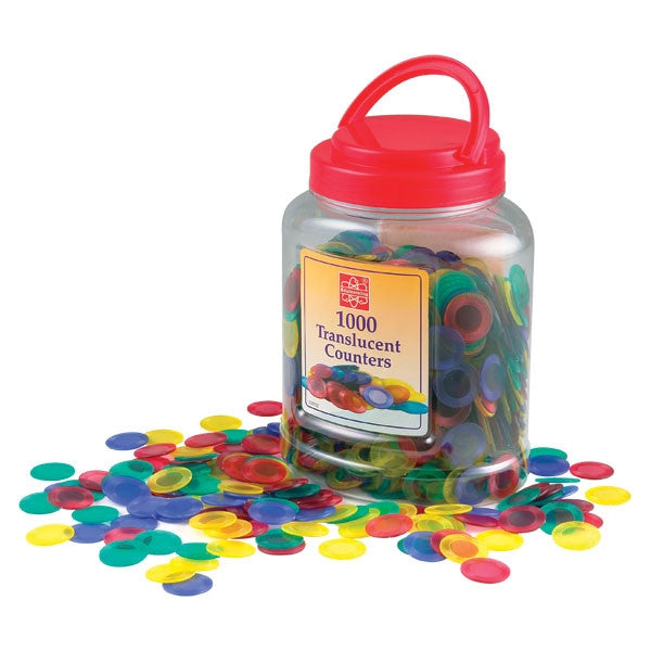 Translucent Counters 20mm 4 colours - 1000pc jar