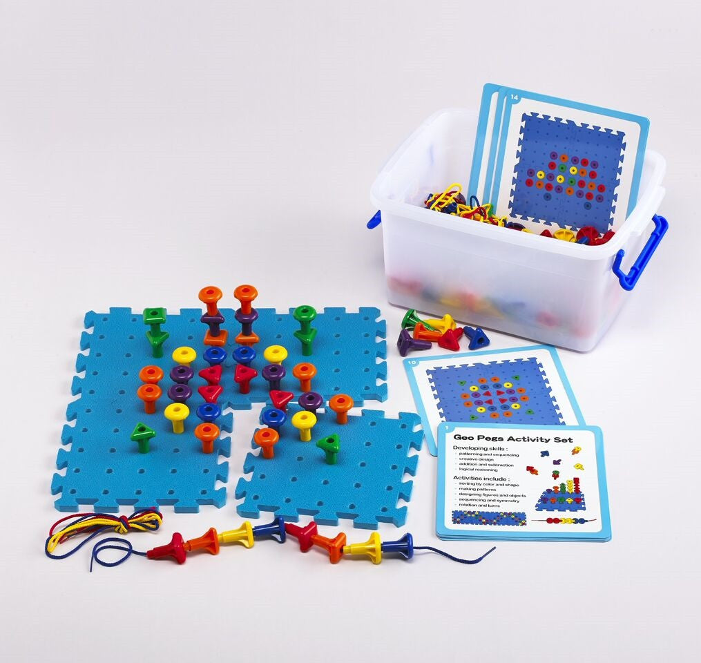 Giant Geo Pegs & Pegboard Classroom Activity Set 172pc in Container