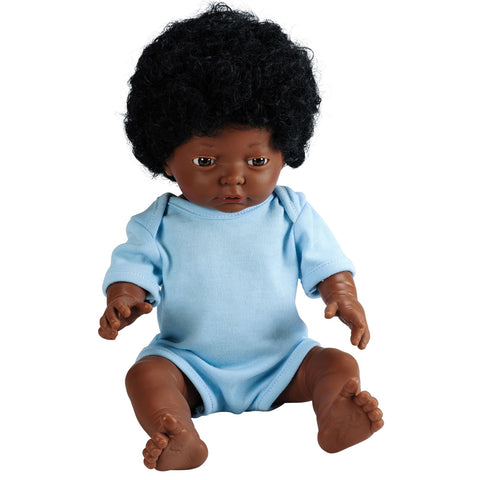 Anatomically Correct Baby Doll with Hair - African Boy
