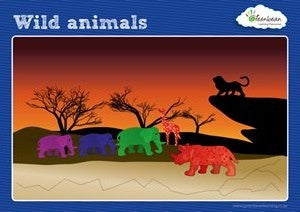 Activity Cards Wild Animal Counters - iPlayiLearn.co.za