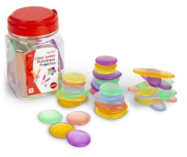 Clear Junior Rainbow Pebbles 36pc in Jar