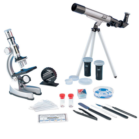 Astronomical Telescope & Microscope Science Kit: 20x ● 30x ● 40x 30mm Telescope & 900x Microscope