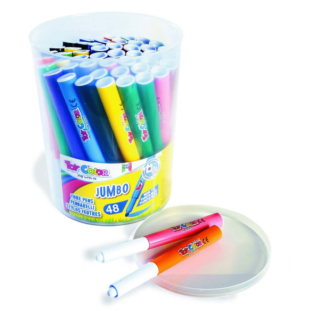 JUMBO fibre pens 48 Colours Jar