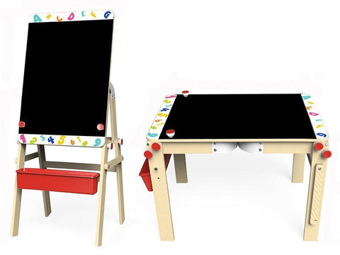 2 in 1 Convertible Wooden Table & Chalkboard Easel Stand