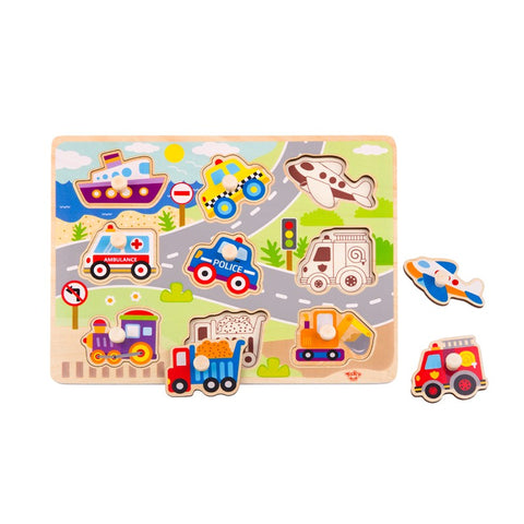 Wooden Vehicle Peg/Knob Puzzle 9pc