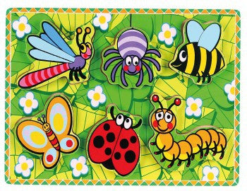 Extra thick wooden puzzle - 6 Insects - iPlayiLearn.co.za