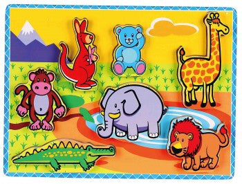 Extra thick wooden puzzle - Wild Animals - iPlayiLearn.co.za