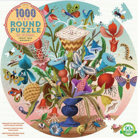 1000 Piece Round Crazy Bug Bouquet Puzzle