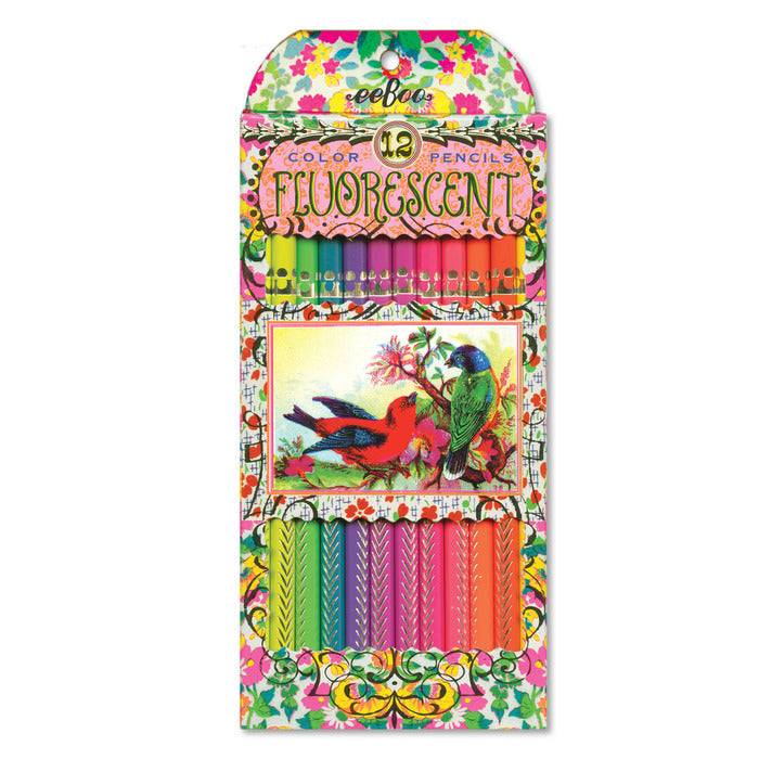 Fluorescent Victorian Birds Pencils 12pc
